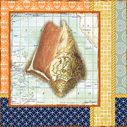 Sea Shell Digital Art Posters - Nautical Journey-Shell D Poster by Jean Plout