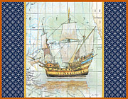 Sea Shell Digital Art Posters - Nautical Journey-Ship A Poster by Jean Plout