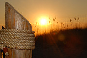 Wood Post Posters - Nautical Rope Sunset Poster by Jt PhotoDesign