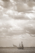 Storm Clouds Digital Art Prints - Nautical - Sailing in New York Harbor Print by Gary Heller