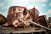 Abandoned Boats Prints - Nautical - Shipwreck - Rusty hulls Print by Gary Heller