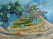 Sea Turtles Mixed Media - Nautical Topsail  by Betsy A Cutler East Coast Barrier Islands