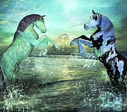 Wild Horse Mixed Media Metal Prints - Nautical Treasures Metal Print by Betsy A Cutler East Coast Barrier Islands