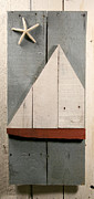 Red Fish Sculpture Posters - Nautical Wood Art 01 Poster by John Turek