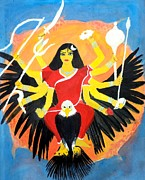 Goddess Durga Painting Framed Prints - Nava Durga ChandraGhanta Framed Print by Pratyasha Nithin