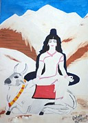 Goddess Durga Painting Framed Prints - Nava Durga MahaGauri Framed Print by Pratyasha Nithin