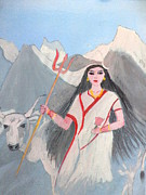 Goddess Durga Painting Framed Prints - Nava Durga Shailputri Framed Print by Pratyasha Nithin
