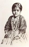 Indian Ink Prints - Navajo girl Print by Candida Hernandez