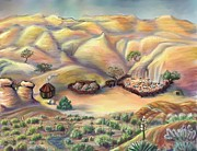 Indian Pastels Prints - Navajo Landscape - Age Eleven Print by Dawn Senior-Trask