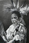 Indians Drawings Framed Prints - Navajo Framed Print by Matt Kowalczyk
