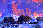Original Oil Paintings - Navajo Sunset by Randy Follis