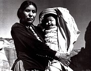 Indian Woman With Child Framed Prints - Navajo Woman With Infant Framed Print by Ansel Adams