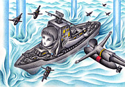 Science Fiction Art Drawings Posters - Naval battle game Poster by T Koni