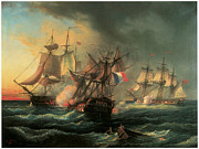 Rights Paintings - Naval Combat between the Rights of Man and the English Vessel Indefatigable and the Frigate Amazon by Leopold Le Guen