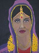 Indian Wedding Paintings - Naveena Indian Bride 4 by Kate Farrant