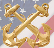 Enlisted Posters - Navy anchors on flag  Poster by Cheryl Casey