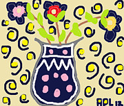 Polka Drawings Prints - Navy Flowers in a Vaz Print by Anita Dale Livaditis