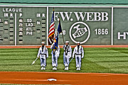 Red Sox Metal Prints - Navy Honor Guard Metal Print by Dennis Coates