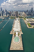 Skylines Photos - Navy Pier Chicago Aerial by Adam Romanowicz
