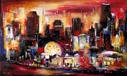 Chicago At Night Paintings - Navy Pier - Chicago by Kathleen Patrick