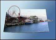 American City Scene Digital Art - Navy Pier Chicago Summer Evening 02 by Thomas Woolworth
