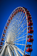 Ferris Wheel Framed Prints - Navy Pier Ferris Wheel in Chicago Framed Print by Paul Velgos