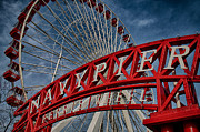 Navy Posters - Navy Pier Ferris Wheel Poster by Mike Burgquist