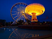 Ferris Wheel Posters - Navy Pier Nights Chicago Poster by Steve Gadomski