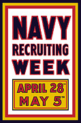 Wwi Propaganda Posters - Navy Recruiting Week  Poster by War Is Hell Store