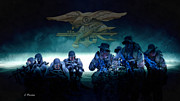 Iraq Mixed Media Prints - Navy Seals Print by A Hermann