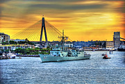 Royal Australian Navy Prints - Navy Ship and Anzac Bridge at Sunset Print by Kaye Menner