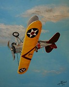 Plane Paintings - Navy Sky by Gene Ritchhart