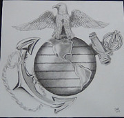 Us Navy Drawings Prints - Navy symbol Print by Bruce Ward