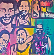 Los Angeles Lakers Painting Prints - NBA Nuthin But Africans Print by Tony B Conscious