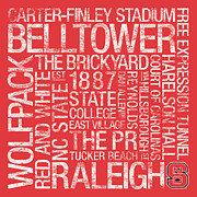 Nc Prints - NC State College Colors Subway Art Print by Replay Photos