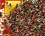 Victory Photo Framed Prints - NC State Fans Celebrate at PNC Arena Framed Print by Replay Photos