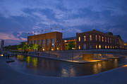 Indianapolis 500 Photos - NCAA Hall Of Champions Blue Hour Wide by David Haskett