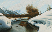 Snow-covered Landscape Metal Prints - Near La Punt St Morritz in the Engadine Valley Metal Print by Peder Monsted