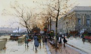 Pedestrians Prints - Near the Louvre Paris Print by Eugene Galien-Laloue