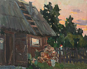 Trees At Sunset Paintings - Near the Russian bath by Juliya Zhukova