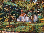 Kendall Kessler Paintings - Near The Tech Duck Pond by Kendall Kessler