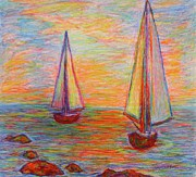 Sailboat Ocean Pastels Posters - Nearing The Shoals Poster by Kendall Kessler