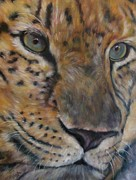 South Asia Paintings - Nebit a Leopard Portrait by Sandra Reeves Cutrer