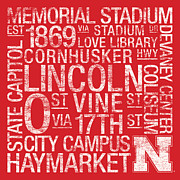 State Capitol Posters - Nebraska College Colors Subway Art Poster by Replay Photos
