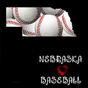 Abstract Map Posters - Nebraska Loves Baseball Poster by Andee Photography