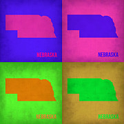 Nebraska. Metal Prints - Nebraska Pop Art Map 1 Metal Print by Irina  March