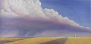 Field. Cloud Painting Prints - Nebraska Vista Print by Jerry McElroy