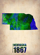 Us State Map Framed Prints - Nebraska Watercolor Map Framed Print by Irina  March