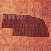 Nebraska Framed Prints - Nebraska Word Art State Map on Canvas Framed Print by Design Turnpike
