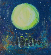 Nebula Painting Originals - Nebula City by Jennifer Wade